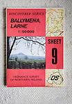 Discoverer series 1:50,000 ordnance survey map of Ballymena, Larne, Northern Ireland sheet 9