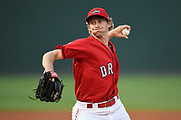 Starting pitcher Logan Boyd (39) of the Greenville Drive delivers a pitch in game two of a doubleheader against the Rome Braves on Tuesday, May 30, 2017, at Fluor Field at the West End in Greenville, South Carolina. Rome won, 10-7. (Tom Priddy/Four Seam Images)