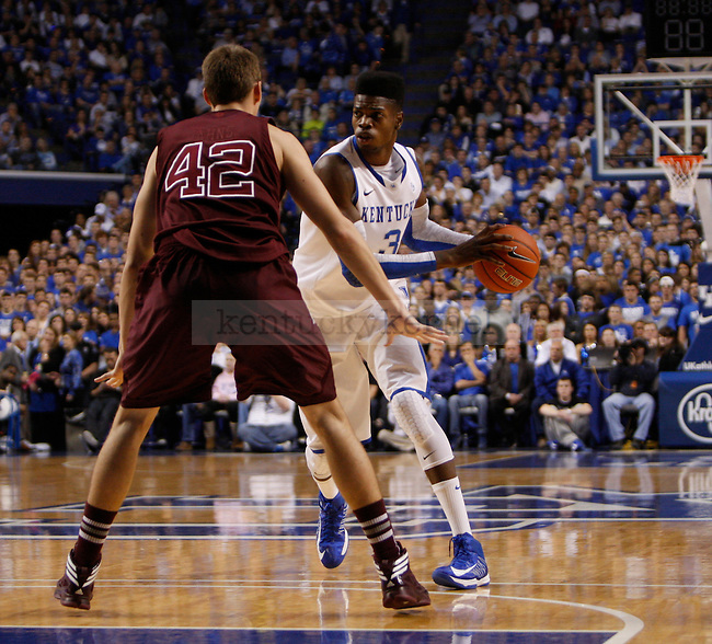 Freshman forward Nerlens Noel looks for a pass during the Men's University of Kentucky basketball game against Texas A&M at Rupp Arena on January 12th, 2013. Photo by Kirsten Holliday | Staff