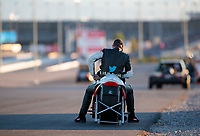 Nov 3, 2019; Las Vegas, NV, USA; NHRA pro stock motorcycle rider Steve Johnson reacts after losing in the final round of the Dodge Nationals at The Strip at Las Vegas Motor Speedway. Mandatory Credit: Mark J. Rebilas-USA TODAY Sports