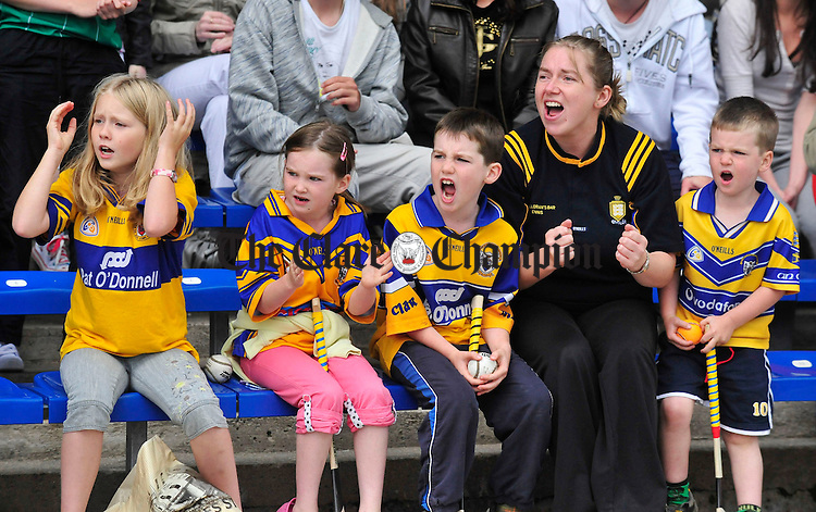 Clare fans in fine voice during the final moments of the U-21 semi final between Clare and Galway. Photograph by Declan Monaghan