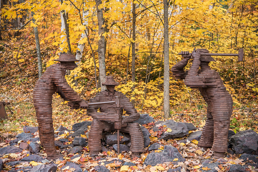 Mining themed metal sculpture at Jackson Miner's Park in Negaunee, Michigan along the Iron Ore Heritage Trail, a multiuse recreation trail connecting communities in Marquette County on Michigan's Upper Peninsula.