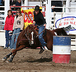 Carol Campbell in the 50-60 ladies barrel racing.