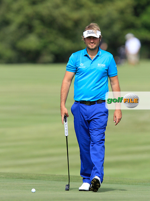 Victor Dubuisson (FRA) on the 5th green during the Pro-Am of the Open de Espana  in Club de Golf el Prat, Barcelona on Wednesday 13th May 2015.<br /> Picture:  Thos Caffrey / www.golffile.ie
