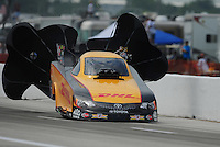Apr. 29, 2012; Baytown, TX, USA: NHRA funny car driver Jeff Arend during the Spring Nationals at Royal Purple Raceway. Mandatory Credit: Mark J. Rebilas-