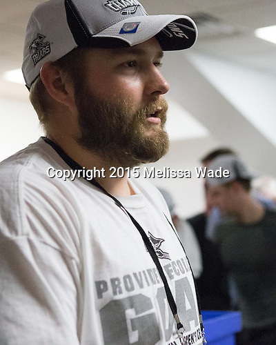 Drew Brown (PC - 7) - The Providence College Friars celebrated their national championship win after the Frozen Four final at TD Garden on Saturday, April 11, 2015, in Boston, Massachusetts.