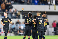 LOS ANGELES, CA - MARCH 08: Carlos Vela #10 of LAFC celebrates a goal against Philadelphia Union during a game between Philadelphia Union and Los Angeles FC at Banc of California Stadium on March 08, 2020 in Los Angeles, California.