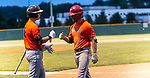 WATERBURY, CT-071520JS27—Brass City Bombers' Justin Guerrera (22), right, is congratulated by teammate Matt Venuto (8) after hitting an in-the-park home run during their summer college league game against the Simsbury SaberCats Wednesday at Municipal Stadium in Waterbury. <br /> Jim Shannon Republican-American