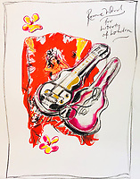 BNPS.co.uk (01202 558833)<br /> Pic: OmegaAuctions/BNPS<br /> <br /> PICTURED: A painting titled for Liberty of London<br /> <br /> A huge collection of artwork by legendary Rolling Stones singer Ronnie Wood has emerged for sale for a whopping £25,000.<br /> <br /> The group of 49 prints have been created by the 72-year-old rocker over a number of years and depict a host of famous faces.<br /> <br /> Among the celebrities to be given the artist's treatment are the likes of Mohammed Ali, Elvis Presley and even his own bandmates.