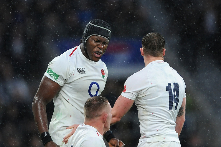 Maro Itoje of England is pumped during the Quilter International match between England and New Zealand at Twickenham Stadium on Saturday 10th November 2018 (Photo by Rob Munro/Stewart Communications)