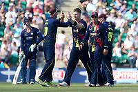 Jimmy Neesham of Kent is congratulated by his team mates after taking the wicket of Paul Walter during Kent Spitfires vs Essex Eagles, NatWest T20 Blast Cricket at The County Ground on 9th July 2017