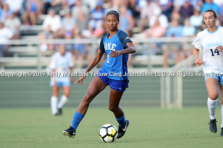 CARY, NC - AUGUST 18: Duke's Imani Dorsey. The University of North Carolina Tar Heels hosted the Duke University Blue Devils on August 18, 2017, at Koka Booth Stadium in Cary, NC in a Division I college soccer game.