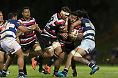 Sam Henwood tries to help Gafatasi Su'a break free from Akira Ioanes tackle. Mitre 10 Cup rugby game between Counties Manukau Steelers and Auckland played at ECOLight Stadium, Pukekohe on Saturday August 19th 2017. Counties Manukau Stelers won the game 16 - 14 and retain the Dan Bryant Memorial trophy.<br /> Photo by Richard Spranger.