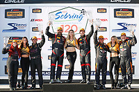 2017 IMSA Continental Tire SportsCar Challenge<br /> Visit Sebring 120<br /> Sebring International Raceway, Sebring, FL USA<br /> Friday 17 March 2017<br /> 44, Nissan, Altima, ST, Sarah Cattaneo, Owen Trinkler, 17, Porsche, Porsche Cayman, ST, Spencer Pumpelly, Nick Galante, 56, Porsche, Porsche Cayman, ST, Jeff Mosing, Eric Foss, podium<br /> World Copyright: MIchael L. Levitt<br /> LAT Images<br /> ref: Digital Image levitt_seb_0317-15504