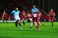 Angus O'Brien of Scarlets scores his sides fourth try during the European Rugby Challenge Cup Round 4 match between the Scarlets and Bayonne at the Parc Y Scarlets in Llanelli, Wales, UK. Saturday 14 December 2019