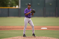 Colorado Rockies relief pitcher Keinter Olivares (52) prepares to deliver a pitch during an Extended Spring Training game against the Arizona Diamondbacks at Salt River Fields at Talking Stick on April 16, 2018 in Scottsdale, Arizona. (Zachary Lucy/Four Seam Images)