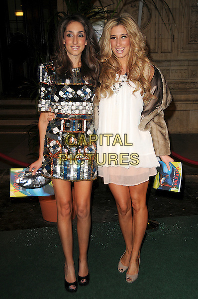 JEMMA & STACEY SOLOMON.Arrivals at Cirque du Soleil's Varekai gala opening night at the Royal Albert Hall, London, England. .January 5th, 2009..full length white layered layers dress brown cropped fur jacket embellished jewel encrusted mini dress beads beaded sisters siblings family tanned bare legs sun tan beige peep toe grey gray shoes .CAP/CAS.©Bob Cass/Capital Pictures.