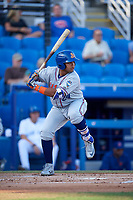 St. Lucie Mets third baseman Jhoan Urena (24) at bat during a game against the Dunedin Blue Jays on April 20, 2017 at Florida Auto Exchange Stadium in Dunedin, Florida.  Dunedin defeated St. Lucie 6-4.  (Mike Janes/Four Seam Images)