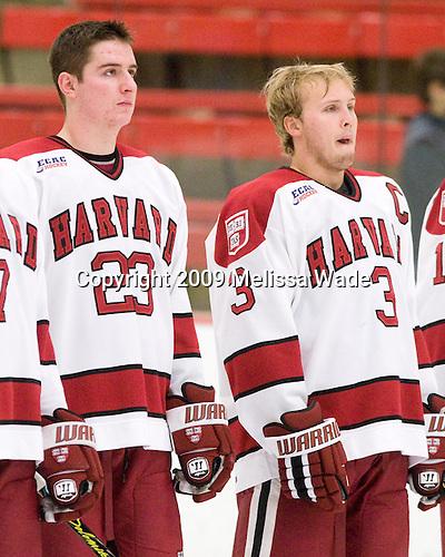 Matt McCollem (Harvard - 23), Alex Biega (Harvard - 3) - The Harvard University Crimson defeated the Dartmouth College Big Green 4-1 (EN) on Monday, January 18, 2010, at Bright Hockey Center in Cambridge, Massachusetts.