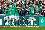 01.09.2019, wohninvest WESERSTADION, Bremen, GER, 1.FBL, Werder Bremen vs FC Augsburg<br /> <br /> DFL REGULATIONS PROHIBIT ANY USE OF PHOTOGRAPHS AS IMAGE SEQUENCES AND/OR QUASI-VIDEO.<br /> <br /> im Bild / picture shows<br /> Jubel 1:0, <br /> Yuya Osako (Werder Bremen #08) bejubelt seinen Treffer zum 1:0 mit Vorlagengeber Niclas Füllkrug / Fuellkrug (Werder Bremen #11) und Joshua Sargent (Werder Bremen #19), <br /> <br /> Foto © nordphoto / Ewert