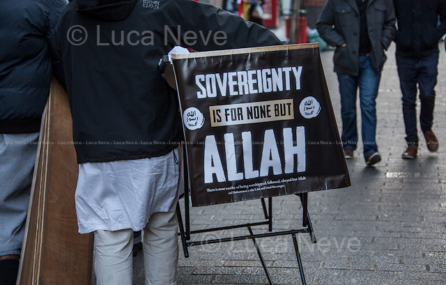 London, 22/11/2013. Today, the Anjem Choudary's Islamic Roadshow held a protest in China Town to highlights the Chinese oppression against the Muslims of Xinjiang.