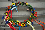 A Ukrainian wreath is laid on the steps for the Ukrainian rally in Justin Herman Plaza in San Francisco, California, on Sunday, March 9th, 2014.  Photo/Victoria Sheridan