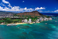Aerial view of the famous Diamond Head Crater and surrounding gold coast area including the Waikiki natatorium