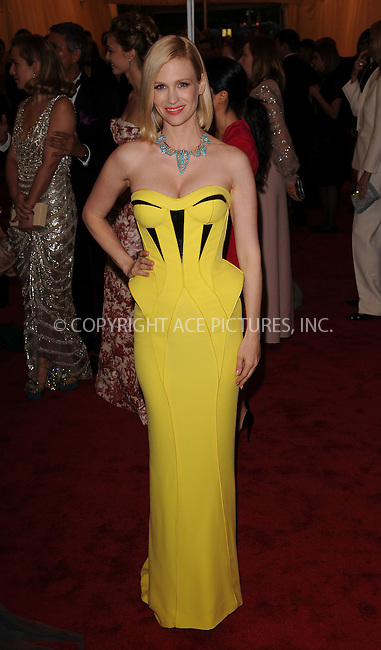 WWW.ACEPIXS.COM . . . . . ....May 7 2012, New York City....January Jones arriving at the 'Schiaparelli And Prada: Impossible Conversations' Costume Institute Gala at the Metropolitan Museum of Art on May 7, 2012 in New York City.....Please byline: KRISTIN CALLAHAN - ACEPIXS.COM.. . . . . . ..Ace Pictures, Inc:  ..(212) 243-8787 or (646) 679 0430..e-mail: picturedesk@acepixs.com..web: http://www.acepixs.com