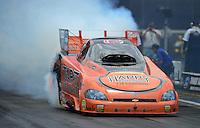Jun. 16, 2012; Bristol, TN, USA: NHRA funny car driver Todd Lesenko during qualifying for the Thunder Valley Nationals at Bristol Dragway. Mandatory Credit: Mark J. Rebilas-