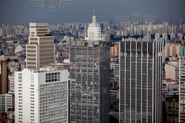 Sao Paulo cityscape as viewed from the iconic Italia building. At the centre, the Banespa building.