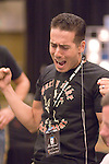 Actor Kirk Acevedo celebrates knocking out an opponent.  He had pocket Aces.