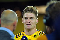 Jordie Barrett (Hurricanes) is interviewed after the Super Rugby match between the Hurricanes and Sharks at Sky Stadium in Wellington, New Zealand on Saturday, 15 February 2020. Photo: Dave Lintott / lintottphoto.co.nz