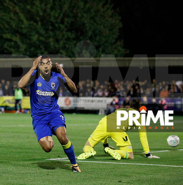 AFC Wimbledon's Kwesi Appiah sees a chance go begging  during the Carabao Cup match between AFC Wimbledon and Brentford at the Cherry Red Records Stadium, Kingston, England on 8 August 2017. Photo by Carlton Myrie.