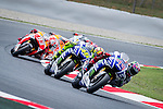 The Riders Jorge Lorenzo, Valentino Rossi and Marc Marquez during MotoGP in Catalunya Grand Prix world championship motorcycling. 15/06/2014. Samuel Roman/Photocall3000
