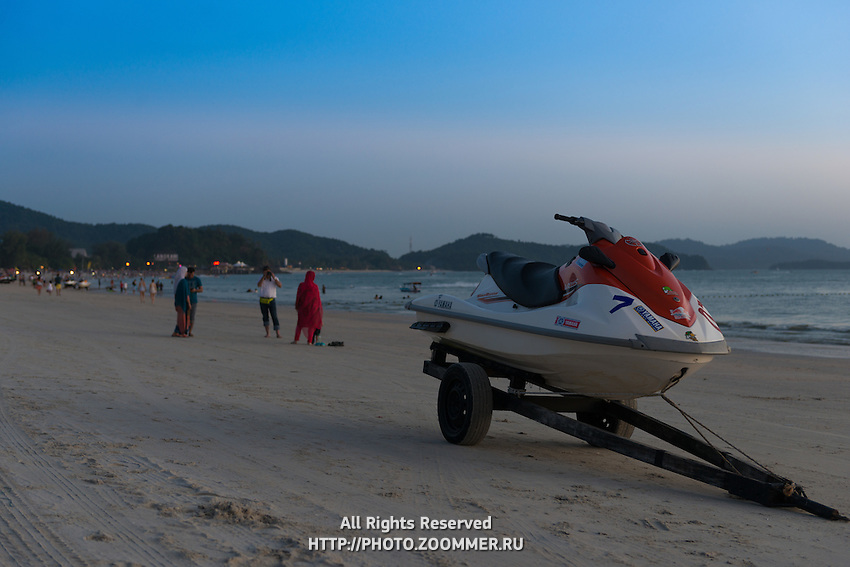 Jetski On Trailer On Cenang Beach After Sunset, Langkawi, Malaysia