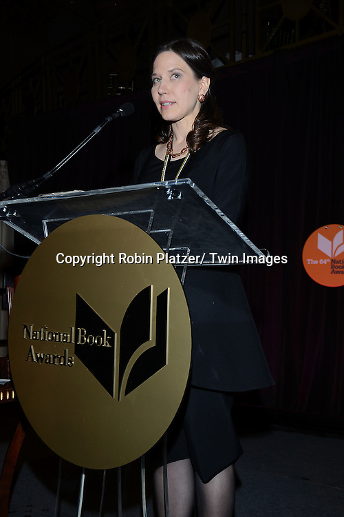 winner for Poetry Mary Szybist attends the 2013 National Book Awards Dinner and Ceremony on November 20, 2013 at Cipriani Wall Street in New York City.