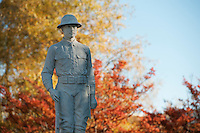 WWI soldier monument with fall leaves.<br />  (photo by Megan Bean / &copy; Mississippi State University)