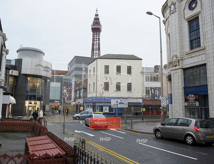 Coronation Street retail units and the Galleon awaiting demolition Blackpool Lancashire UK......© Phill Heywood.