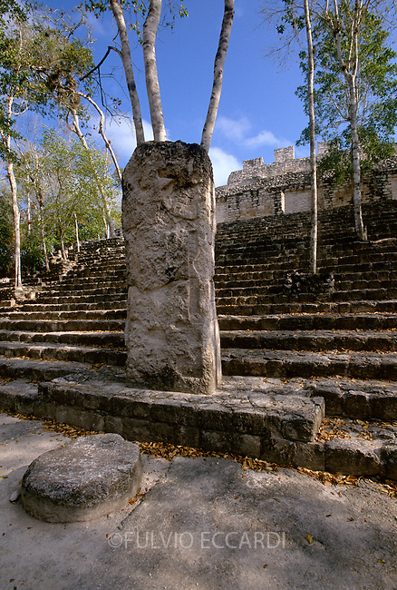 Mexico, Campeche, Calakmul, arqueological sites, arqueology, maya, pyramid, architecture, scupture, trees