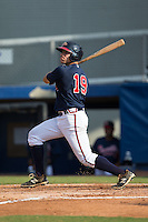 Ramon Osuna (19) of the Danville Braves follows through on his swing against the Pulaski Yankees at American Legion Post 325 Field on July 31, 2016 in Danville, Virginia.  The Yankees defeated the Braves 8-3.  (Brian Westerholt/Four Seam Images)