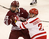 Griff Jeszka (UMass - 11), Jakob Forsbacka Karlsson (BU - 23) - The Boston University Terriers defeated the University of Massachusetts Minutemen 3-1 on Friday, February 3, 2017, at Agganis Arena in Boston, Massachusetts.The Boston University Terriers defeated the visiting University of Massachusetts Amherst Minutemen 3-1 on Friday, February 3, 2017, at Agganis Arena in Boston, MA.
