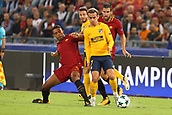 12th September 2017, Stadio Olimpic, Rome, Italy; UEFA Champions League between AS Roma versus Club Atletico de Madrid  Antoine Griezmann is challenged by Nunes Jesus  ; the game ended on a 0-0 draw