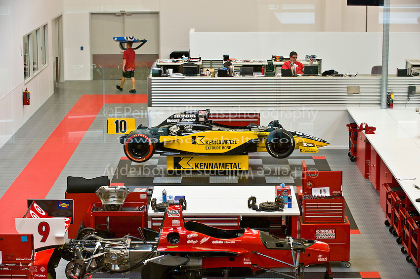 Current IndyCars under preparation in the Ganassi shop for offseason testing.