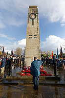 Pictured: A young cadet pays his respects after the service. Sunday 11 November 2018<br /> Re: Commemoration for the 100 years since the end of the First World War on Remembrance Day at the Swansea Cenotaph in south Wales, UK.