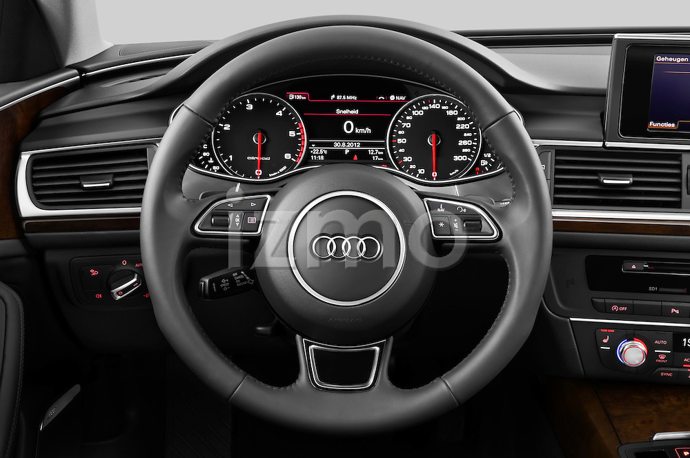 Steering wheel view of a 2013 Audi A6 Allroad Quattro Wagon