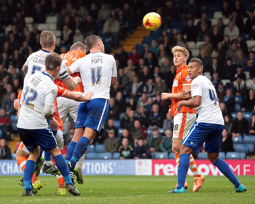 Blackpool's Clark Robertson scores his sides second goal <br /> <br /> Photographer David Shipman/CameraSport<br /> <br /> Football - The Football League Sky Bet League One - Bury v Blackpool - Saturday 31st October 2015 - Gigg Lane - Bury <br /> <br /> &copy; CameraSport - 43 Linden Ave. Countesthorpe. Leicester. England. LE8 5PG - Tel: +44 (0) 116 277 4147 - admin@camerasport.com - www.camerasport.com
