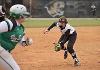 NWA Democrat-Gazette/BEN GOFF @NWABENGOFF<br /> Madison Prough, Bentonville pitcher, fields a fly ball for an out against Van Buren Thursday, March 16, 2017, during the softball game at Bentonville's Tiger Athletic Complex.