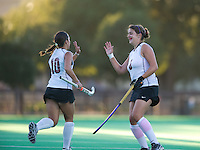 STANFORD, CA - September 3:  Stehphanie Byrne (10) and Becky Dru (8) celebrate after a Dru goal during a field hockey match against UC Davis, September 3, 2010 in Stanford, California. Stanford won 3-1.