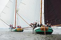 SKUTSJESILEN: HEEG: Hegemer Mar, 14-08-2012, IFKS skûtsjesilen, A-klasse, skûtsje Zeldenrust, skûtsje Striidber, voor de wind, ©foto Martin de Jong