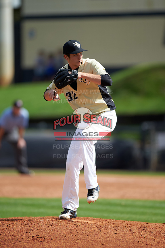 UCF Knights relief pitcher Thaddeus Ward (32) delivers a pitch during a game against the Siena Saints on February 21, 2016 at Jay Bergman Field in Orlando, Florida.  UCF defeated Siena 11-2.  (Mike Janes/Four Seam Images)